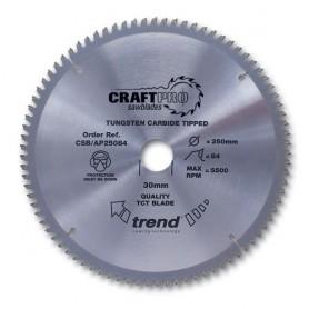 Lame de scie circulaire aluminium et plastique 250mm x Z 84 x 30mm